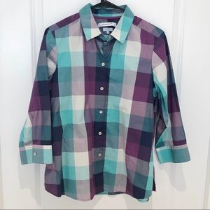 Foxcroft Purple Plaid Button Down Shirt 10